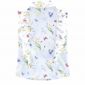 Monnalisa blouse lichtblauw bloemen