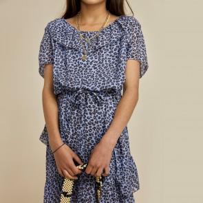 LesCoyotesdeParis jurk blauw leopard