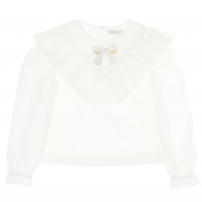 Monnalisa blouse wit strik