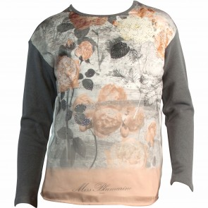 MissBlumarine shirt grijs flowers
