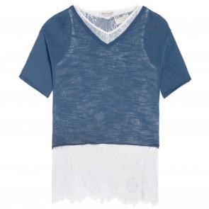 TwinSet tshirt blauw lace